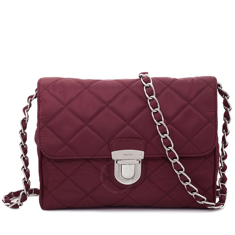 Prada Quilted Shoulder Bag - Garnet - Prada - Handbags - Jomashop d77489ec28faf