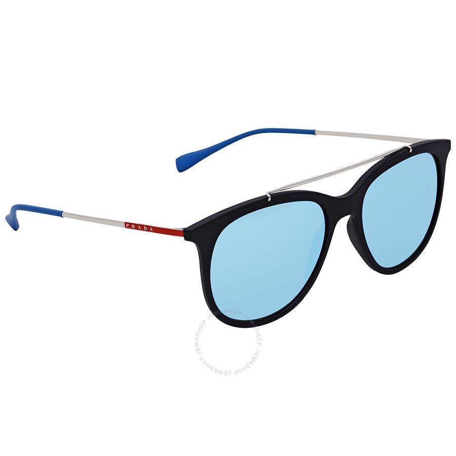 2abf2e10a48 Prada Rossa Light Green Mirror Blue Round Sunglasses PS 02TS DG05M2 54 ...