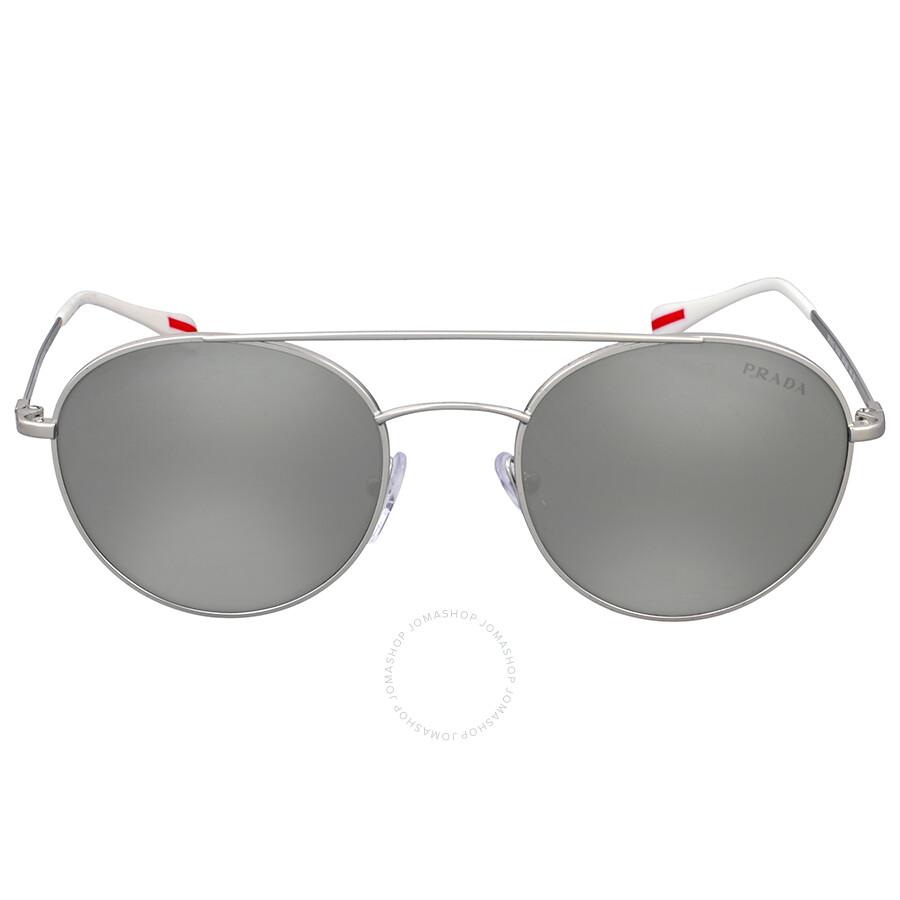 16c530f723 Prada Round Aviator Light Grey Mirror Sunglasses Item No. 0PS 51SS1AP2B051