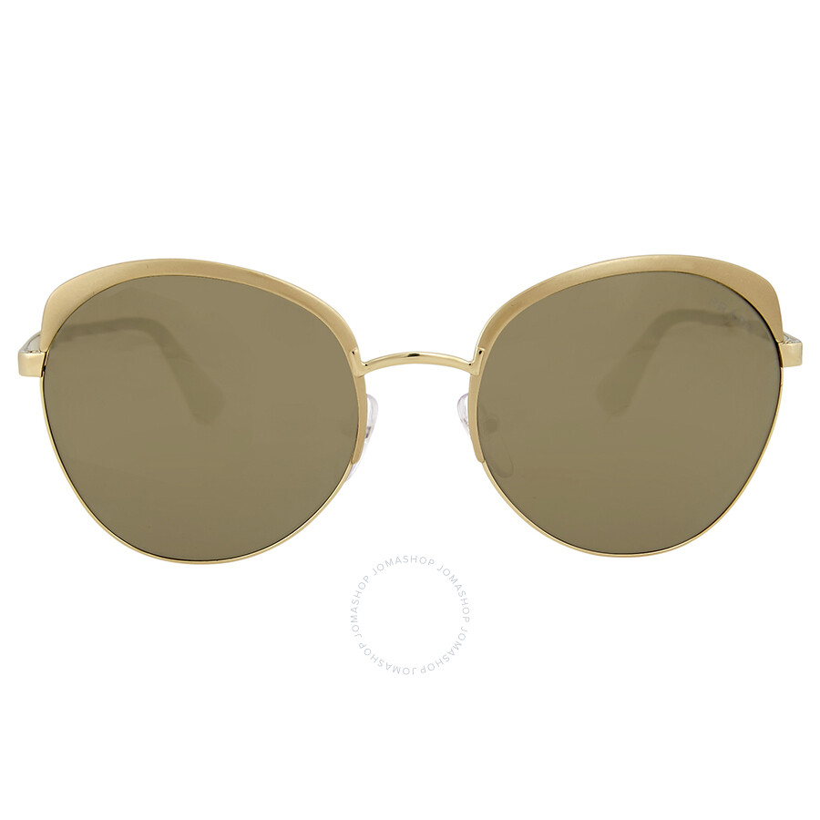 d949ef60b436 Prada Round Light Brown Mirror Gold Sunglasses Item No. 0PR 54SSVAQ1C059