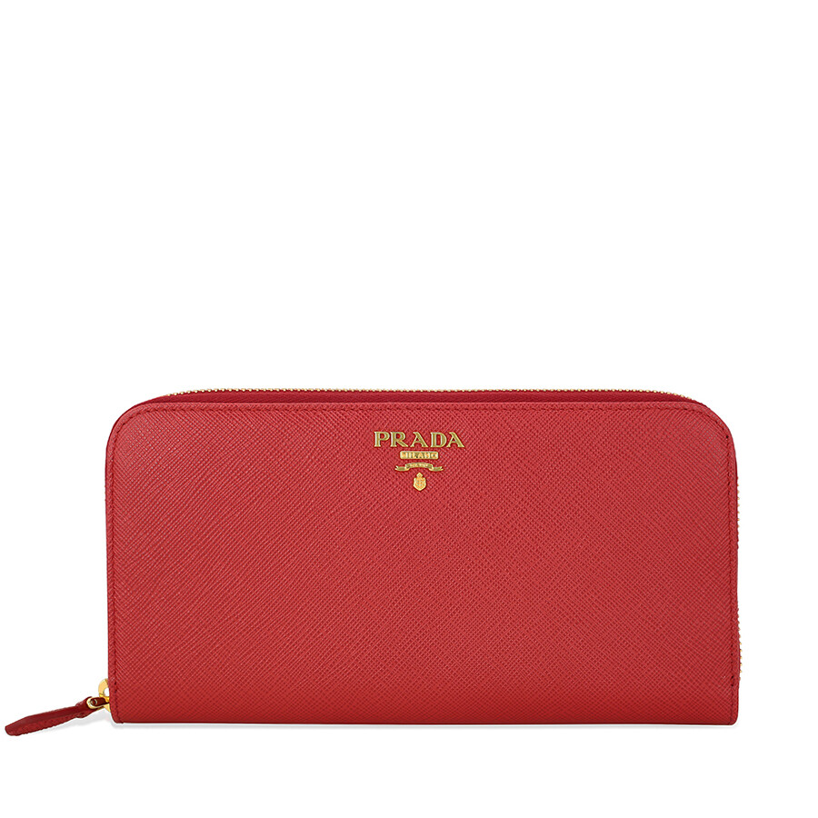 04cc8a0085a8 Prada Saffiano Leather Continental Wallet - Fuoco Item No. 1ML506-QWA-F068Z