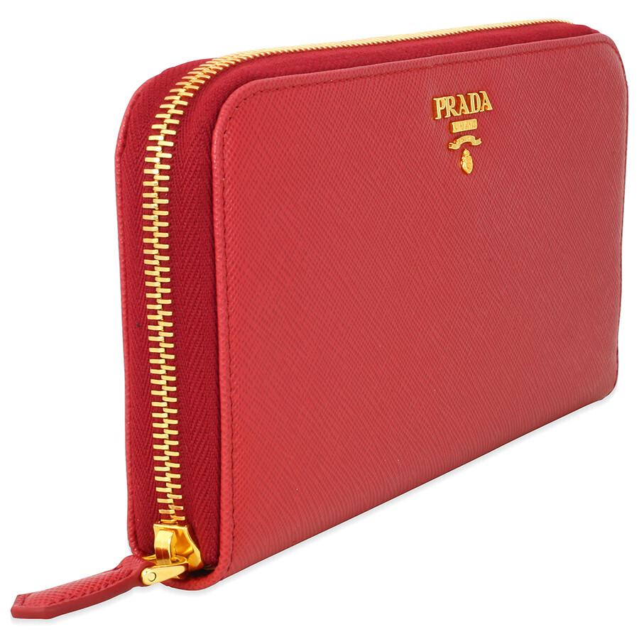 3f91fac576e7 Prada Saffiano Leather Continental Wallet - Fuoco - Prada - Handbags ...