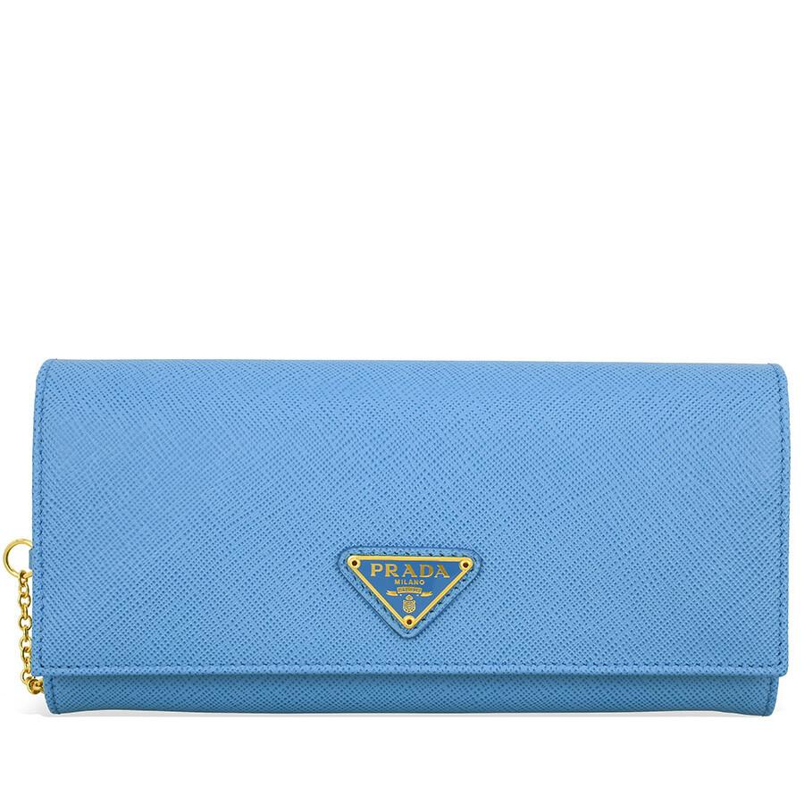 709460a6c1fd Prada Saffiano Leather Continental Wallet - Light Blue Item No.  1MH132QHH-F0P9S