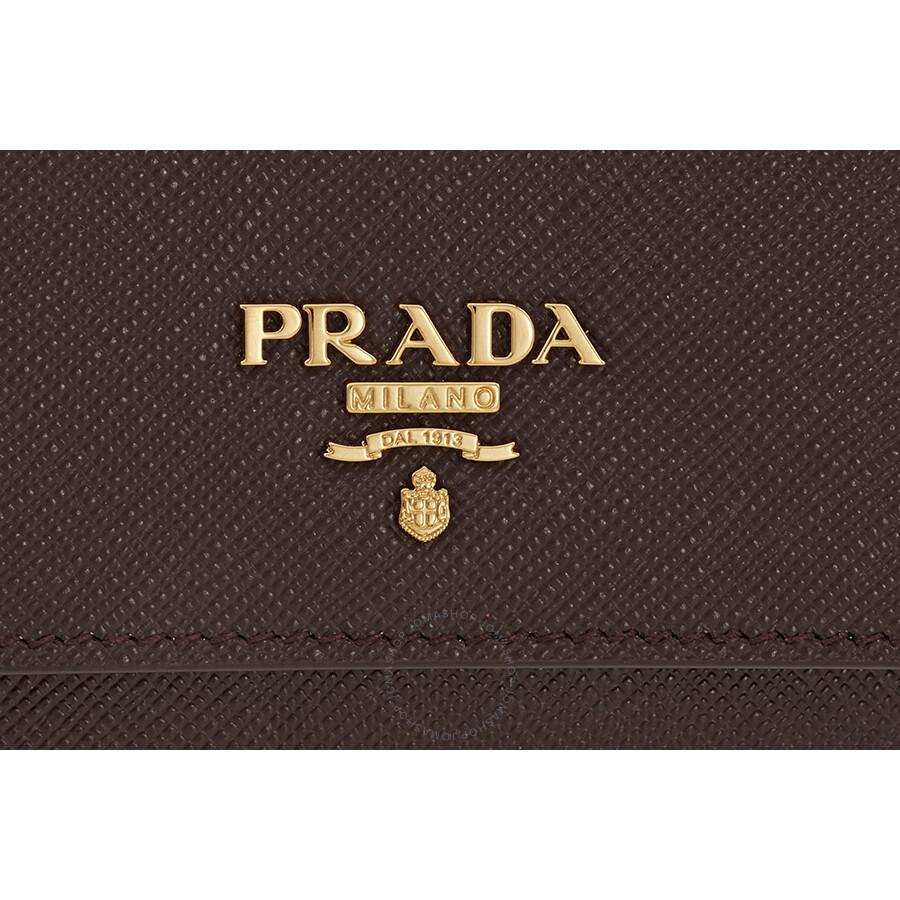 075cb64caa30 ... spain prada saffiano leather credit card holder granato 72a80 226f0 ...