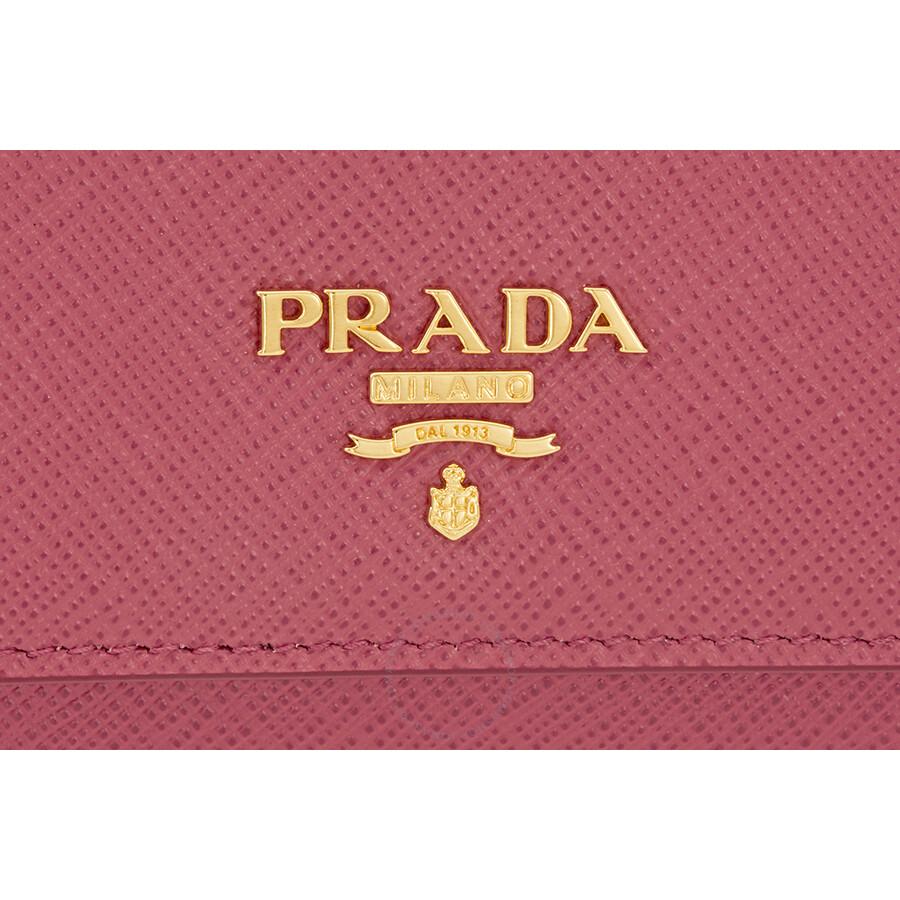 3bb2fe9e045a Prada Saffiano Leather Credit Card Holder - Peonia - Prada ...