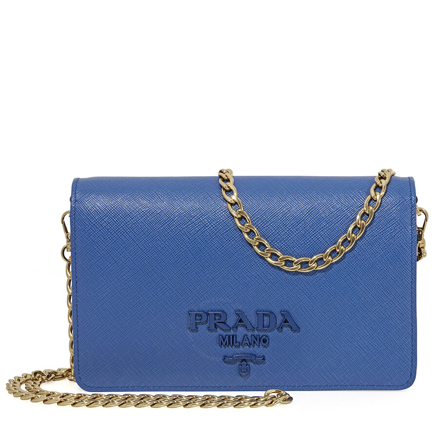 376569b78882 Prada Saffiano Leather Shoulder Bag- Light Blue Item No. 1BP012 NZV F0013 V