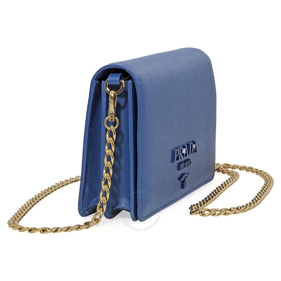278c0380267f Prada Saffiano Leather Shoulder Bag- Light Blue - Prada - Handbags ...