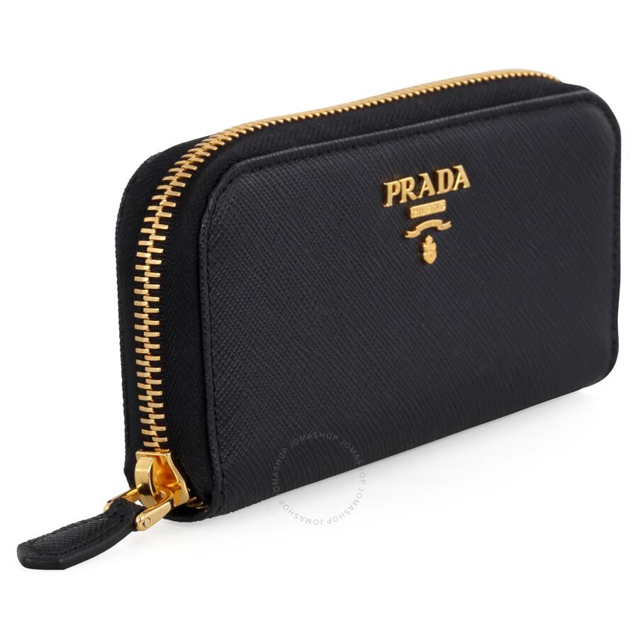 20f9d9df91aa Prada Saffiano Leather Key Case - Black - Prada - Handbags - Jomashop