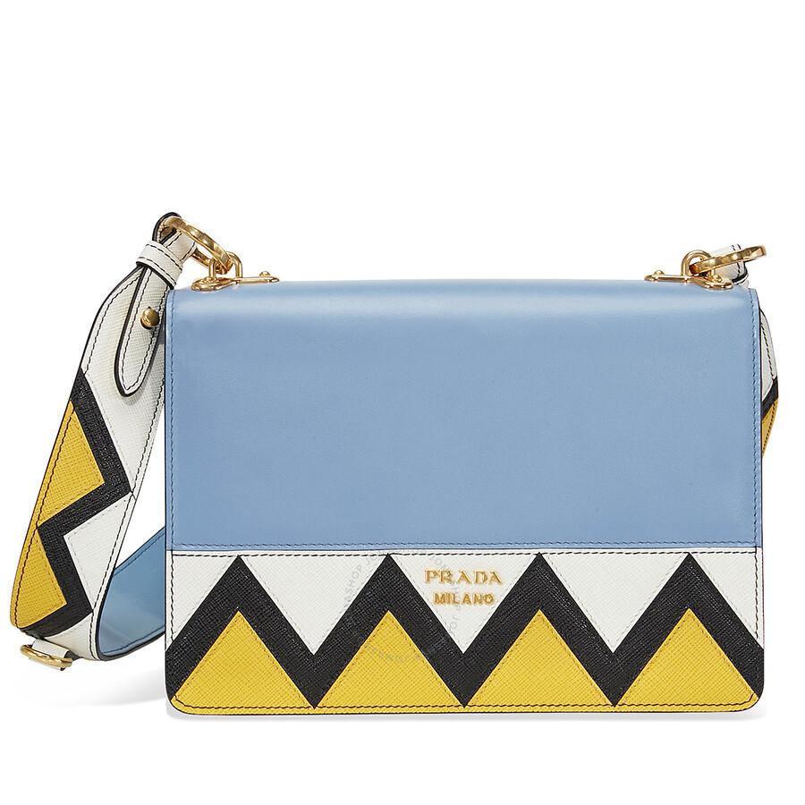 81e4a01fdee4 Prada Saffiano Leather Medium Crossbody - Blue White and Yellow ...