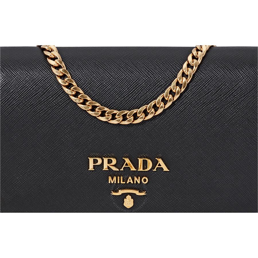 decd52d4d7b4 Prada Saffiano Leather Medium Shoulder Bag - Black - Prada ...