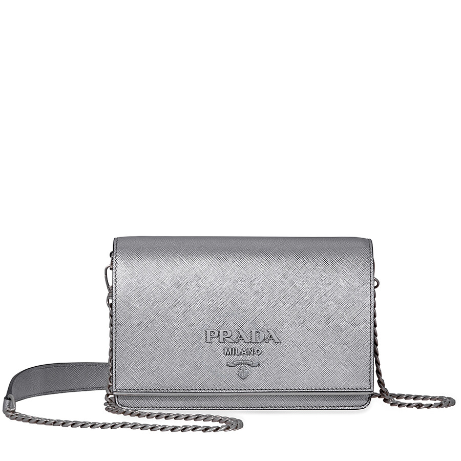 aa0689471096 Prada Saffiano Leather Medium Shoulder Bag - Chrome Item No.  1BH091_NZV_CDO_F0135