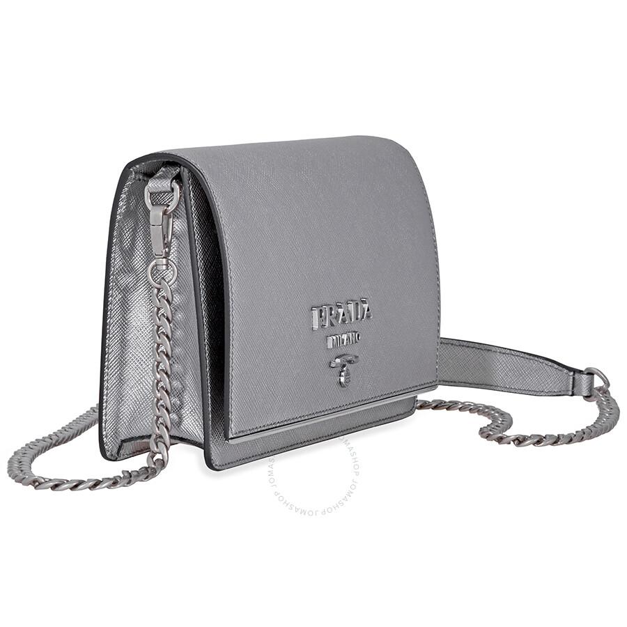 7b7c5fd49b Prada Saffiano Leather Medium Shoulder Bag - Chrome - Prada ...