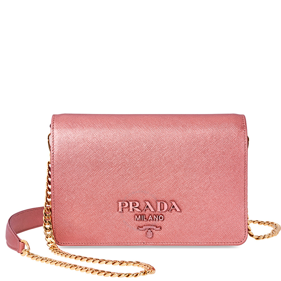 Prada Saffiano Leather Medium Shoulder Bag Pink