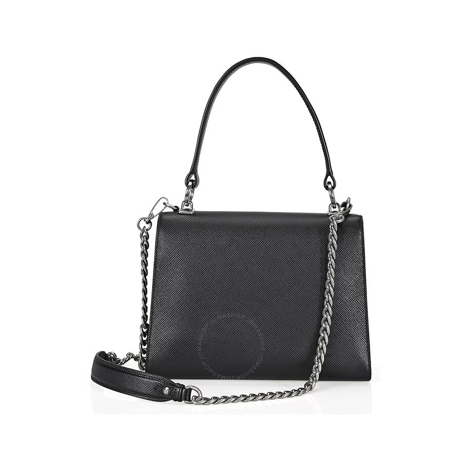 Prada Saffiano Leather Shoulder Bag - Black - Prada - Handbags ... 362674b74594a