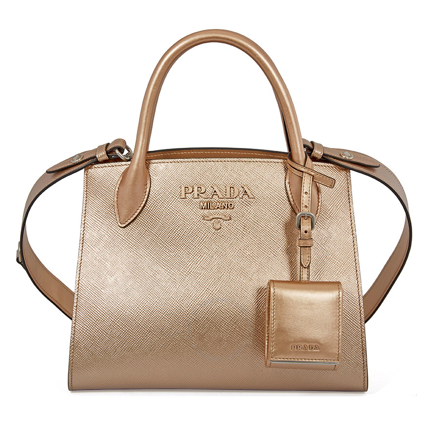 031dbbabb9ae Prada Saffiano Leather Shoulder Bag- Monochromatic Quartz Item No.  1BA156_OOO_2ERX_F0CGQ