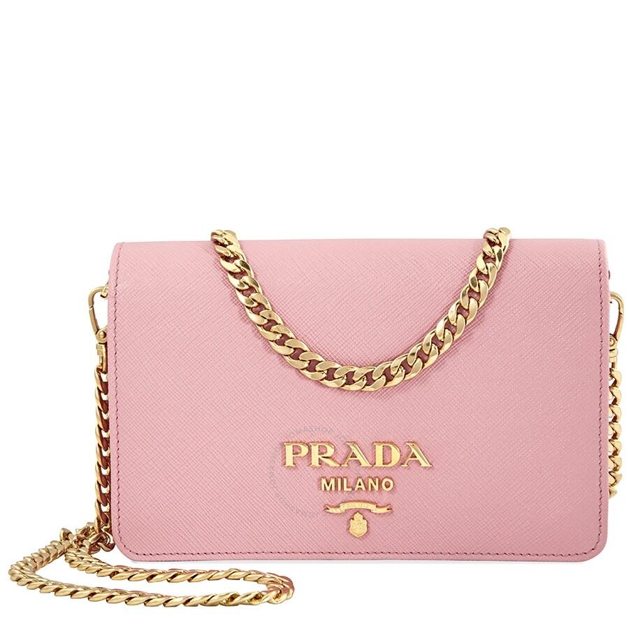 8818497ddc51 Prada Saffiano Leather Shoulder Bag- Pink - Prada - Handbags - Jomashop