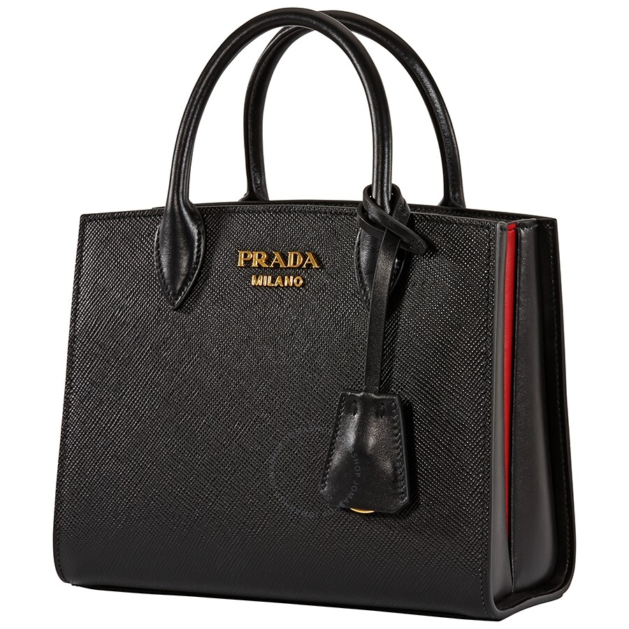 buy online meticulous dyeing processes shop Prada Saffiano Leather Tote- Black/Red