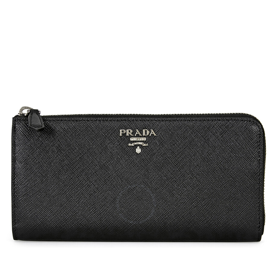 3e1c57a2156f Prada Saffiano Leather Wallet - Nero Mughetto Item No. 1ML183-2E6V-F0LN1