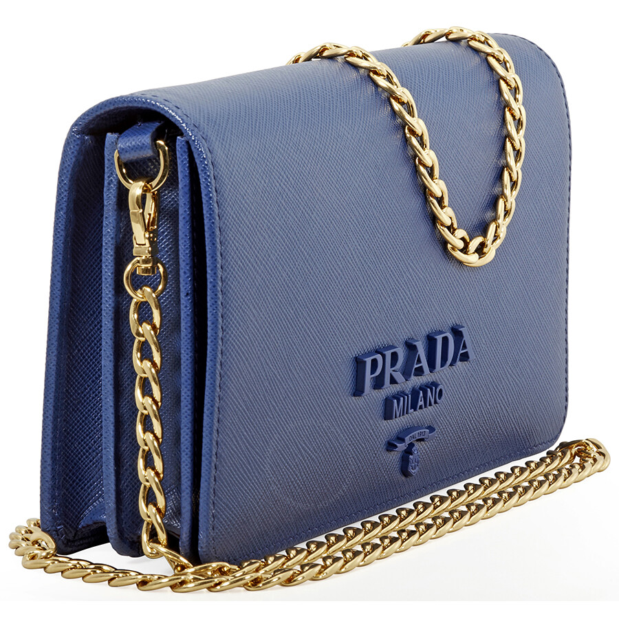 Prada Saffiano Leather Shoulder Bag- Bluette - Prada - Handbags ... 55e2df14c44ea