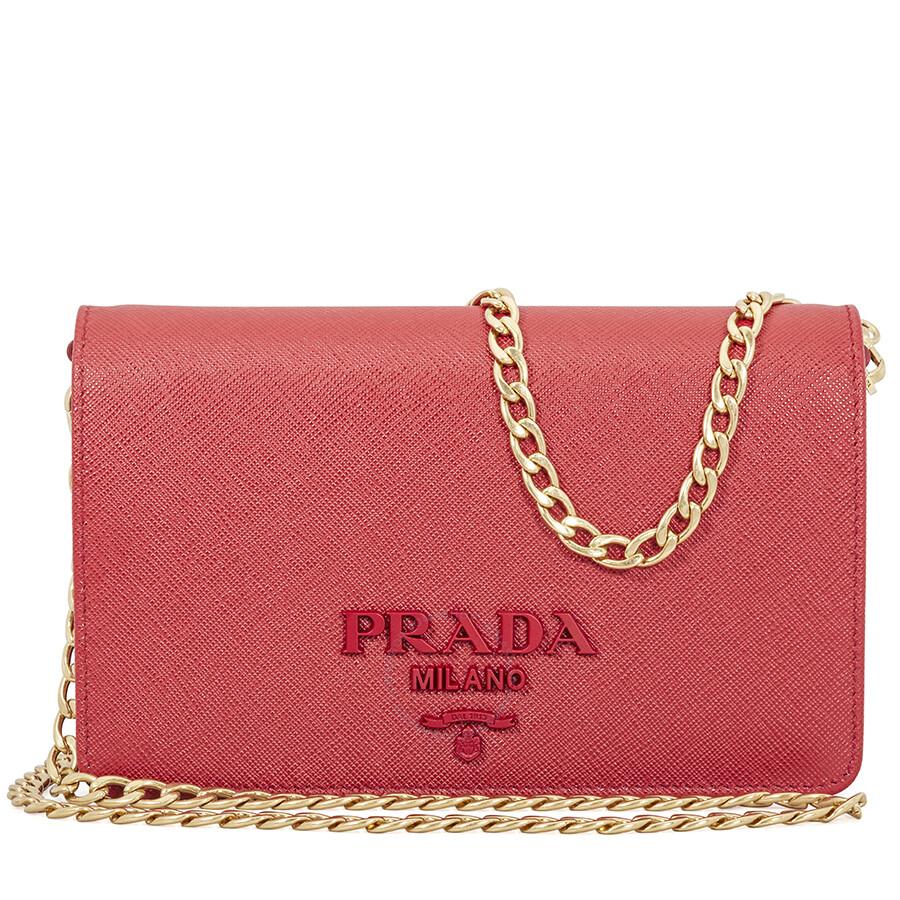 58086616dfef Prada Saffiano Leather Wallet Bag- Red Item No. 1BP012 NZV F068Z-V CWO