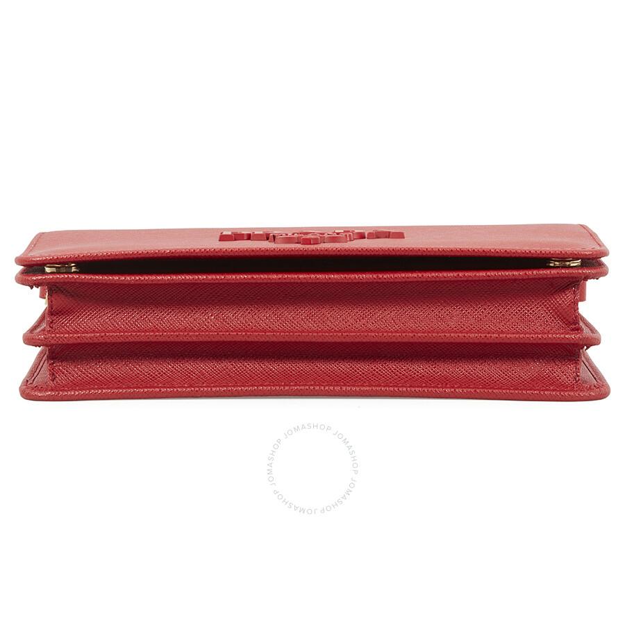 19d706c943ee Prada Saffiano Leather Wallet Bag- Red - Prada - Handbags - Jomashop