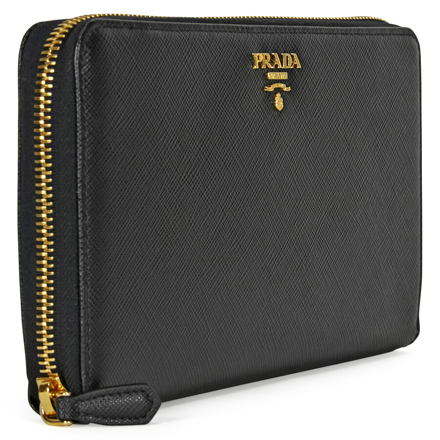 b50ac5bfed88 Prada Saffiano Leather Zip-Around Wallet - Black - Prada - Handbags ...
