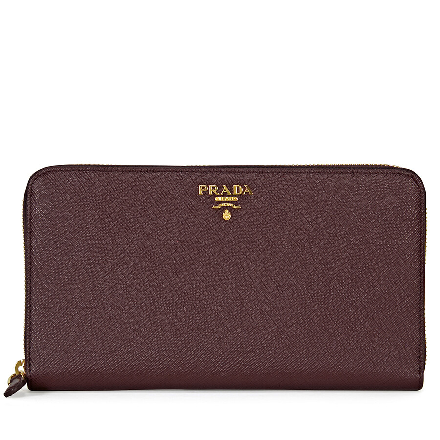 33e66f5e9ecc Prada Saffiano Leather Zip-Around Wallet - Granato Item No. 1ML188-QWA-F0403