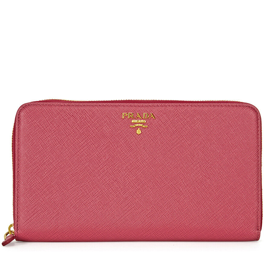 280a76efe9ce5d Prada Saffiano Leather Zip-Around Wallet - Peonia Item No. 1ML188-QWA-F0505