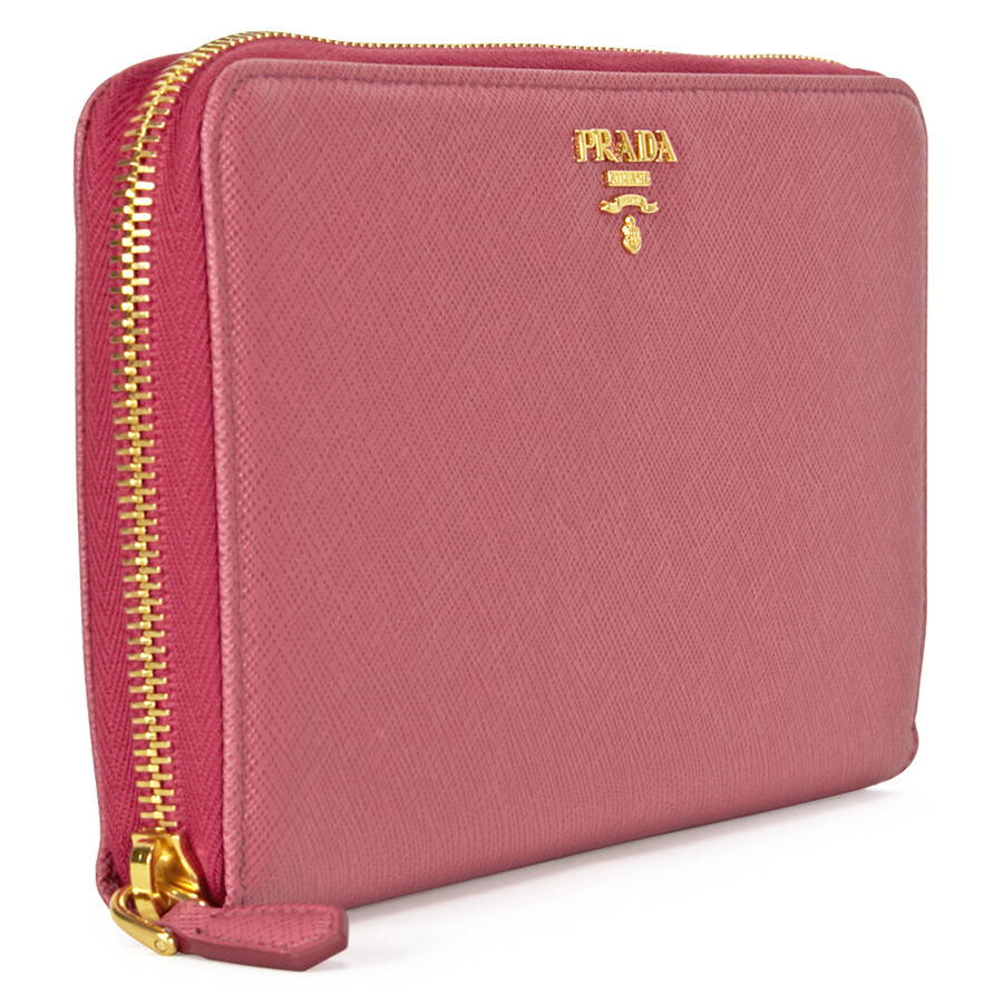 5269f980ce7e28 Prada Saffiano Leather Zip-Around Wallet - Peonia - Prada - Handbags ...