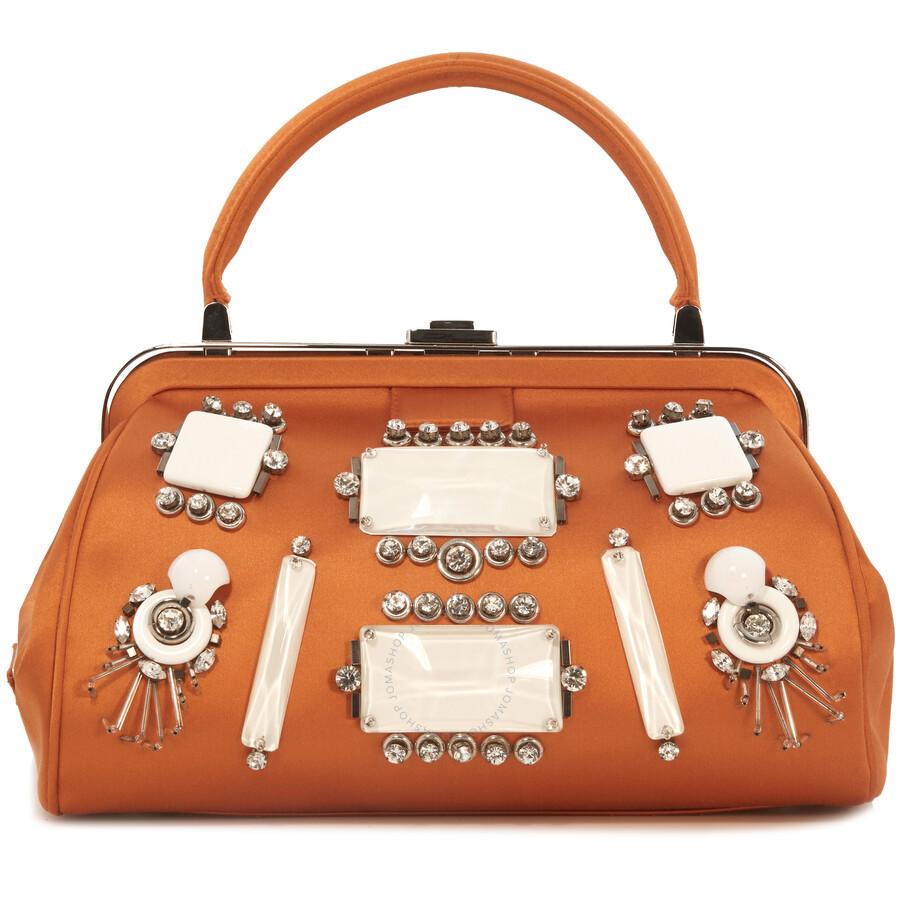 Prada Satin Jeweled Handbag Orange