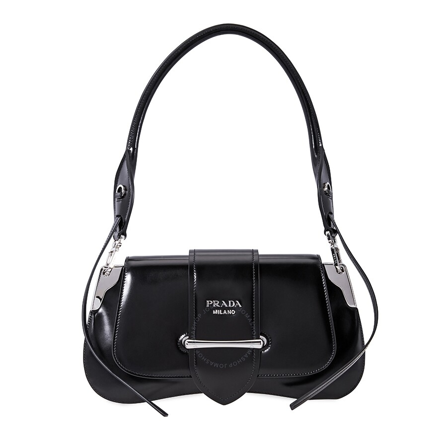 f55d789f6bf1 Prada Sidonie leather Shoulder Bag- Black - Prada - Handbags - Jomashop
