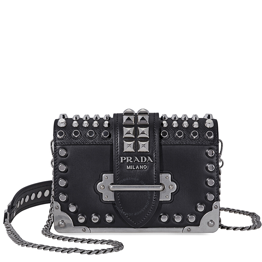 5f390ae469 Prada Small Leather Crossbody Bag- Black/Silver