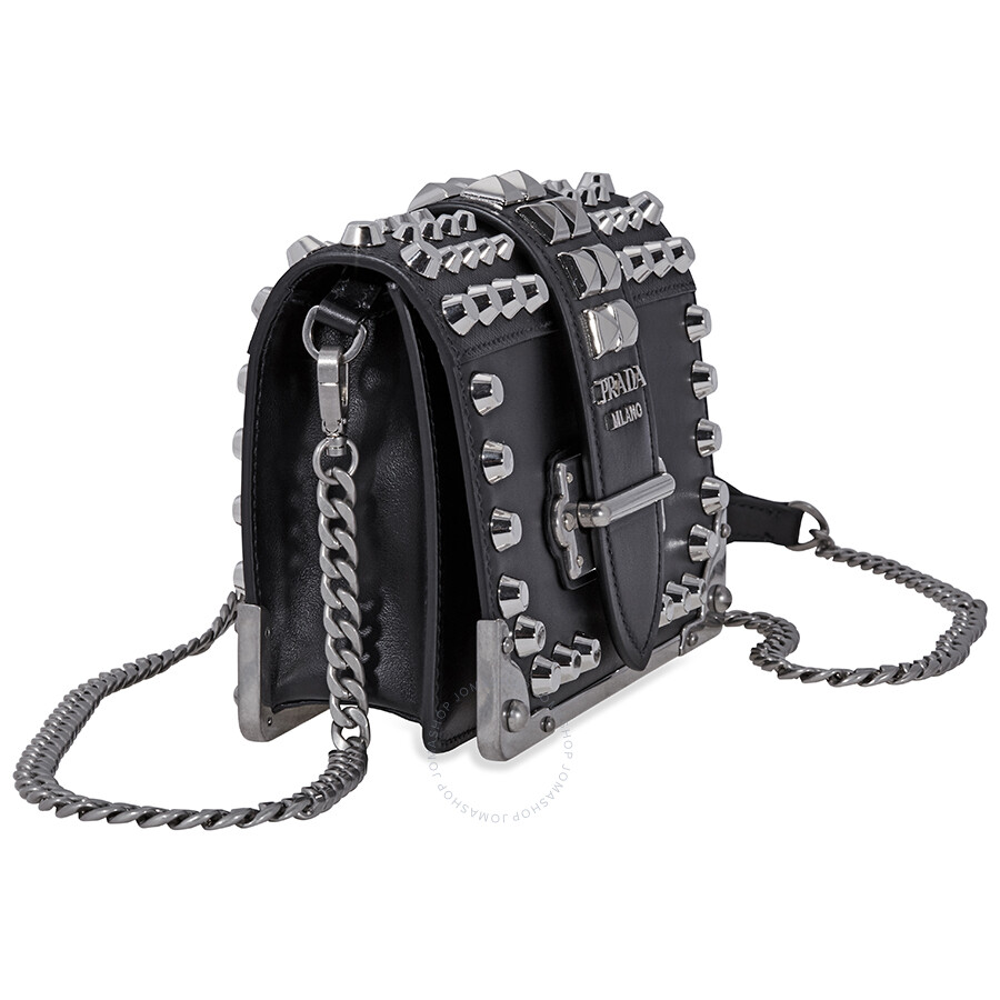 Prada Small Leather Crossbody Bag Black Silver
