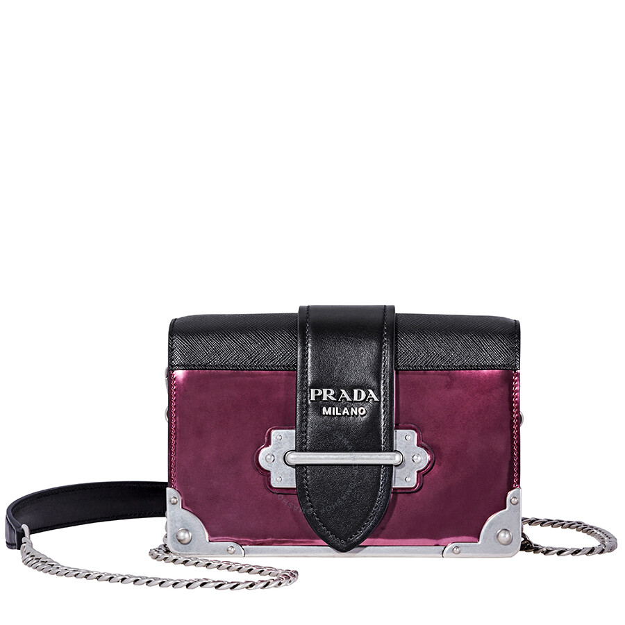 b6de61a660 Prada Small Leather Crossbody Bag- Hibiscus/Black Item No. 1BH018_2B1E_F0EZR