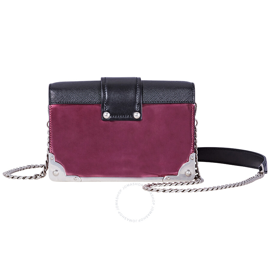 cbbfd736494e Prada Small Leather Crossbody Bag- Hibiscus/Black - Prada - Handbags ...