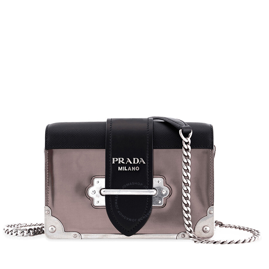 06c2d4518 Prada Small Leather Crossbody Bag- Iron Grey/Black Item No.  1BH018_2B1E_F0G22_V_WCH