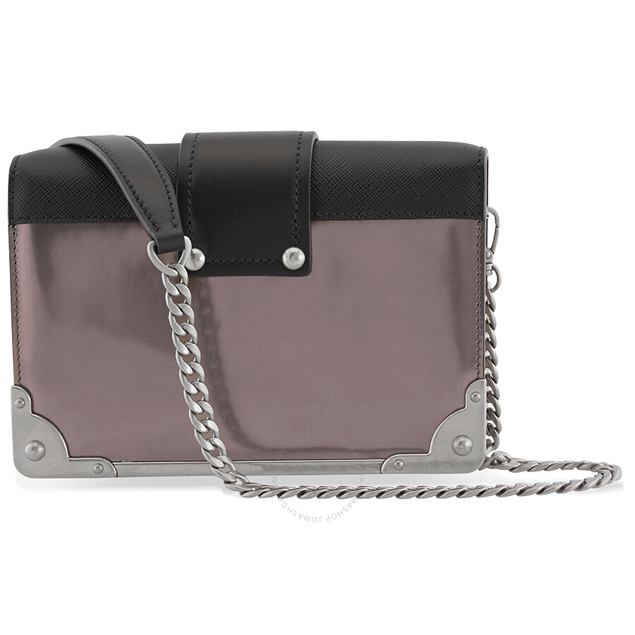 Prada Small Leather Crossbody Bag- Iron Grey Black - Prada ... d1e6ecfb22fac