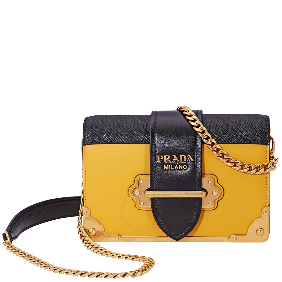 30accbb08856 Prada Small Leather Crossbody Bag-Black/Sunny Yellow - Prada ...