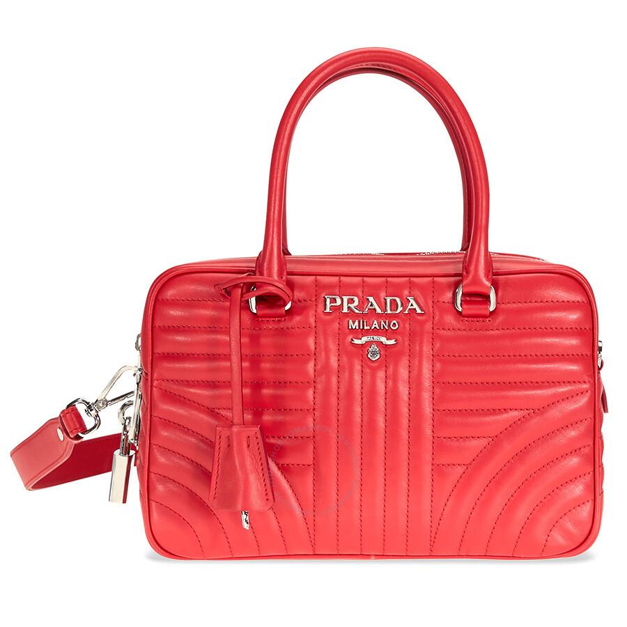 d2e311e59b Prada Small Leather Handbag - Red - Prada - Handbags - Jomashop