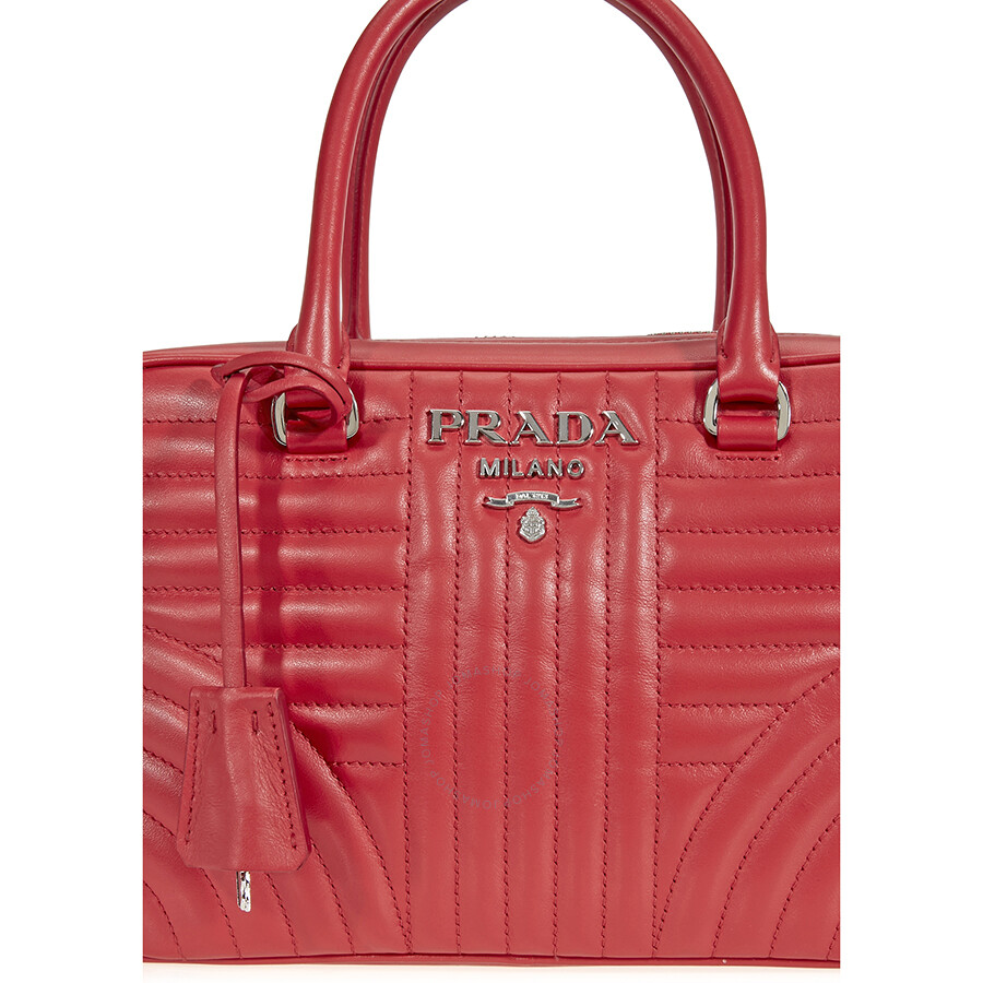 Prada Small Leather Handbag - Red - Prada - Handbags - Jomashop