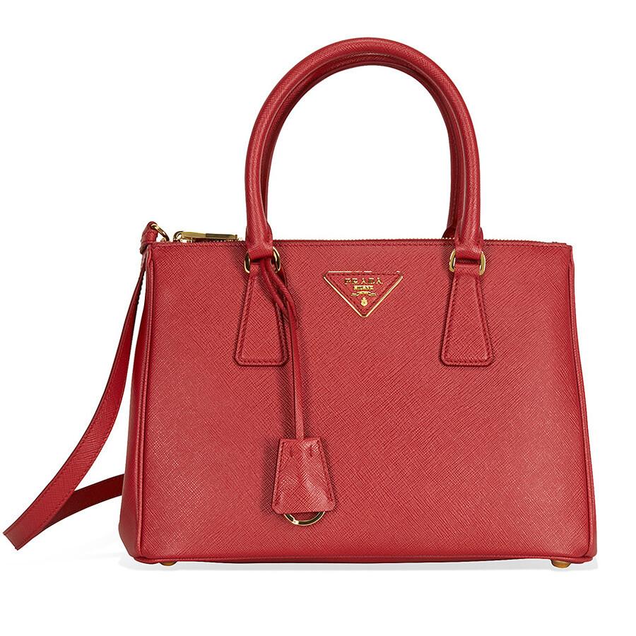 e9c285503331 Prada Small Lux Double Zip Saffiano Leather Tote - Fuoco - Lux ...