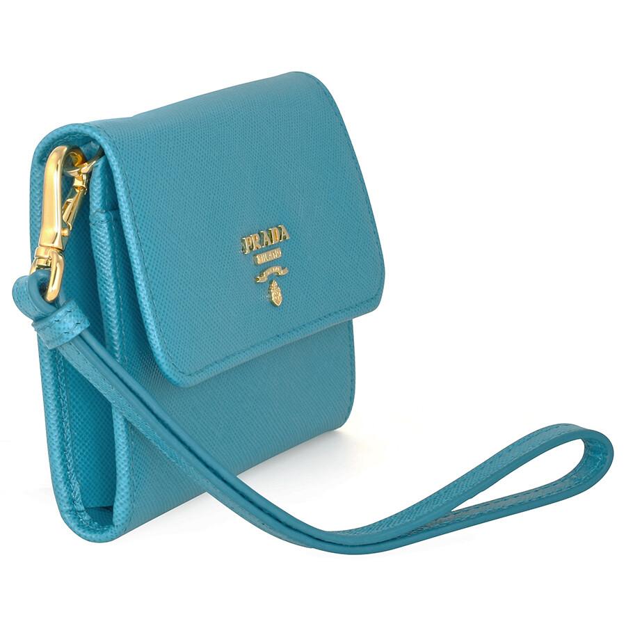 e88118f9dda54a Prada Small Saffiano Leather Wallet - Celeste - Prada - Handbags ...