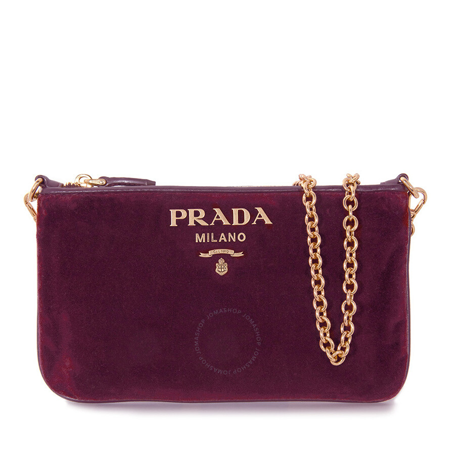 980883896a3c Prada Small Velvet Pouch - Red Currant - Prada - Handbags - Jomashop