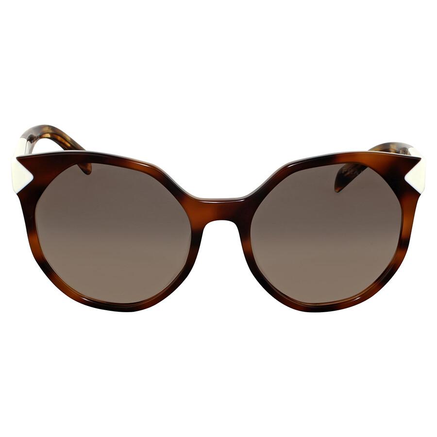 b7afcbb4de0 Prada Striped Dark Brown Cat Eye Sunglasses - Prada - Sunglasses ...