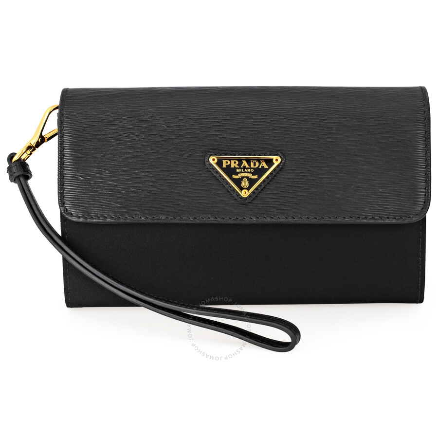 38b28ea67efd Prada Tessuto Saffiano Leather and Nylon Wallet - Black - Tessuto ...