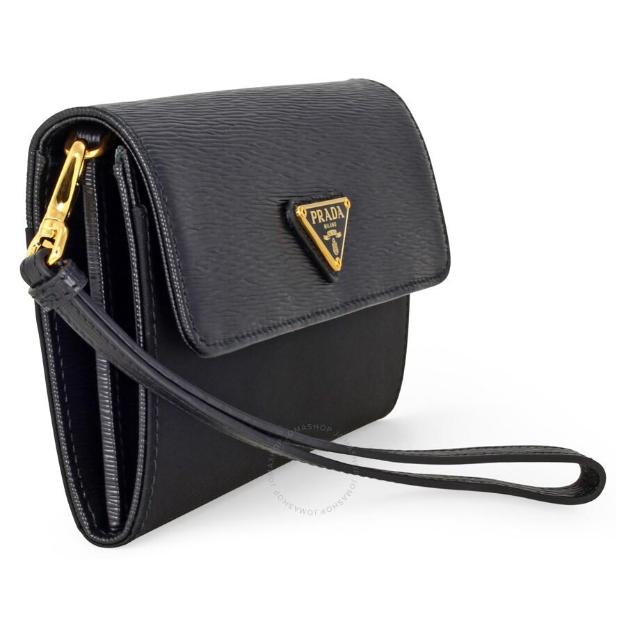 959657195133 Prada Tessuto Saffiano Leather and Nylon Wallet - Black - Tessuto ...