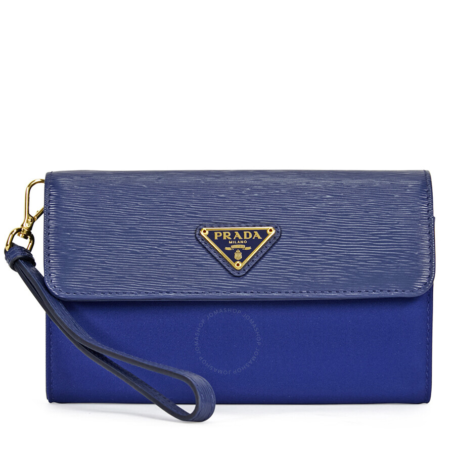 3c3479a974b20 Prada Tessuto Saffiano Leather and Nylon Wallet - Bluette Item No.  1MH438-2EZ7-F0016