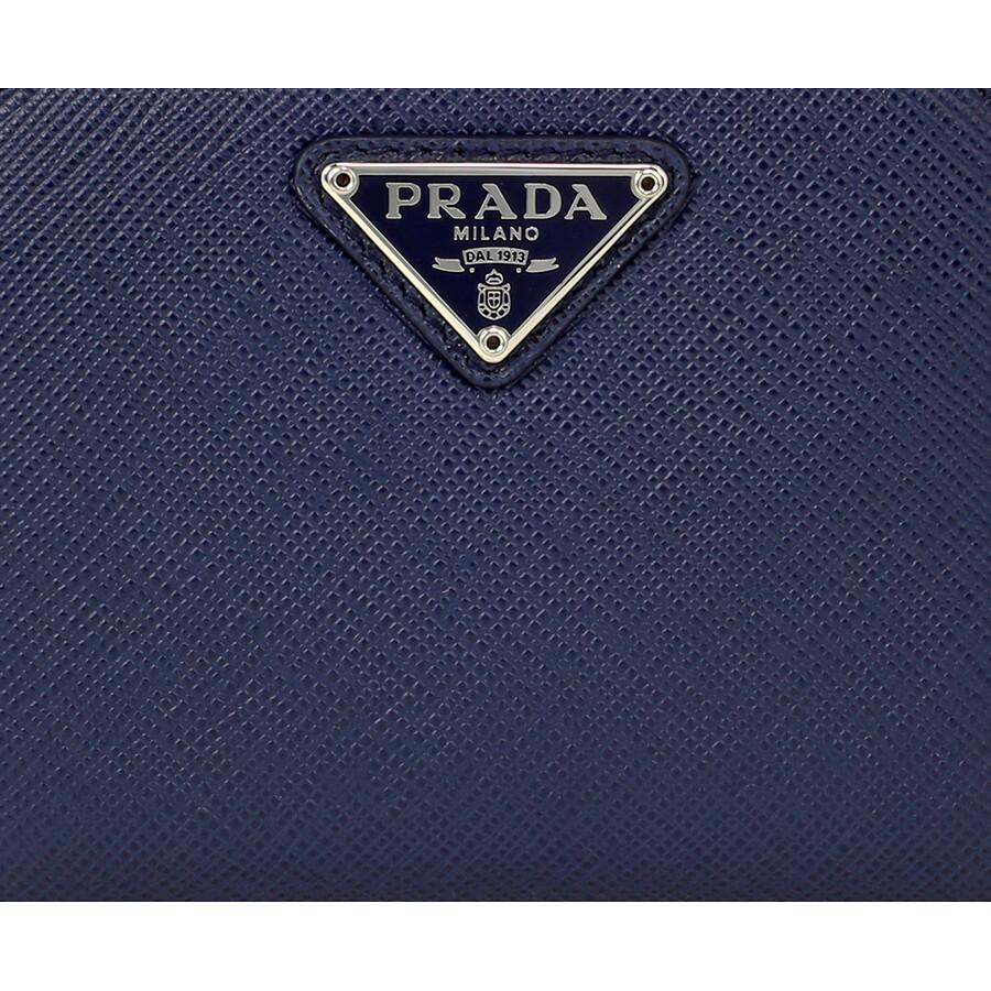 b1f06593a59a Prada Triangolo Saffiano Leather Coin Purse - Blue - Triangolo ...