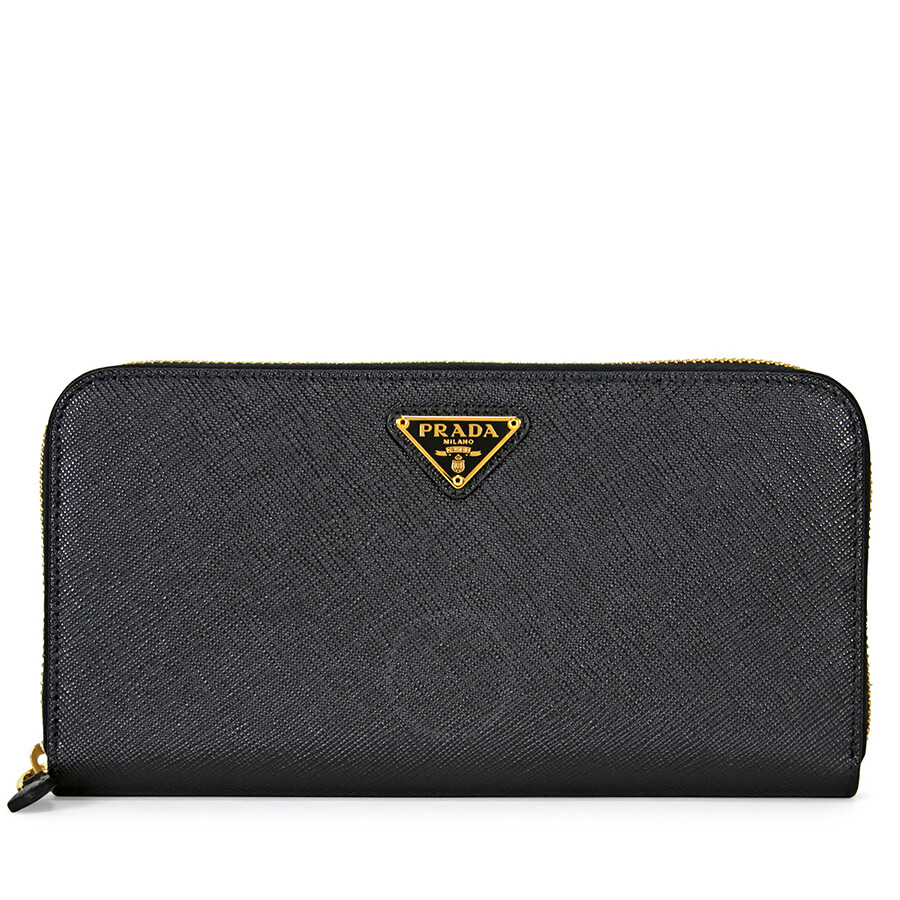 Prada Triangolo Saffiano Leather Continental Wallet - Black
