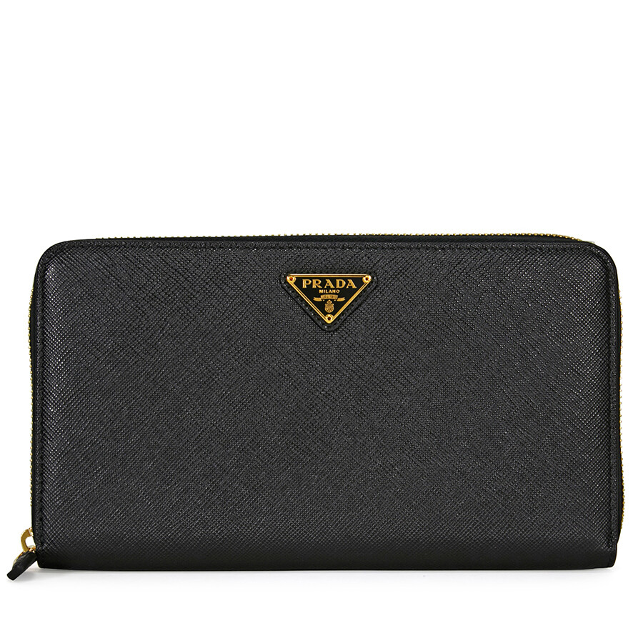 Prada Triangolo Saffiano Leather Wallet - Black ...